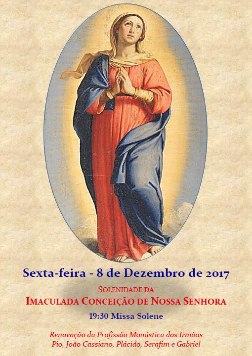Próxima Sexta-feira, 8 de Dezembro Solenidade da Imaculada Conceição Missa às 19h30min